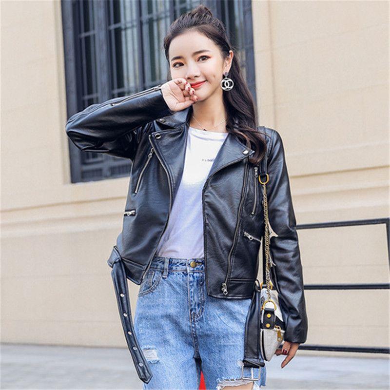 2019 Autumn Pu Leather Jacket Women Fashion Bright Colors Black