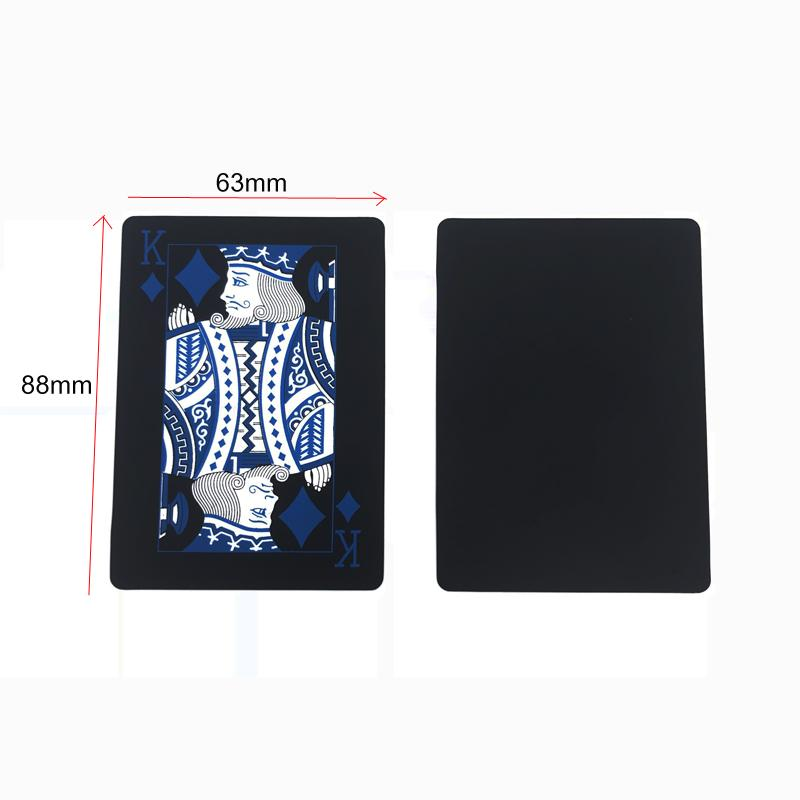 High Quality Red&Blue Smooth Waterproof Black Plastic Playing Cards Texas Hold'em Poker Cards Baccarat Board Games 2.48*3.46inch