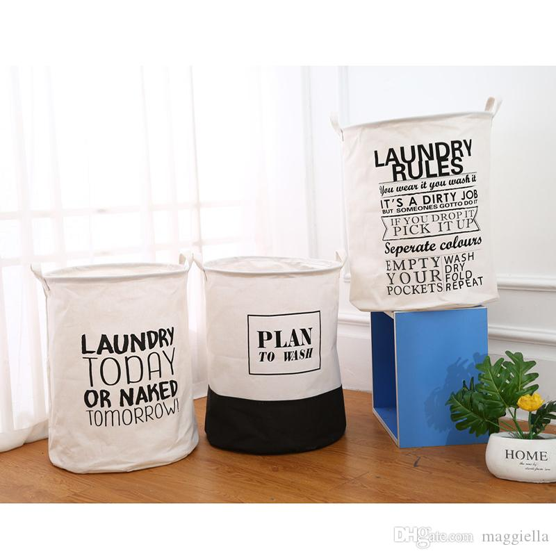 5pcs/lot Folding Large Capacity Laundry Basket Cotton Linen Dirty Clothes Storage Barrel Washing Hamper 40*50cm