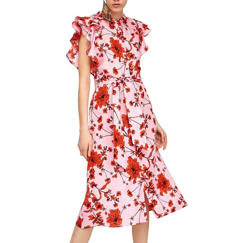 44e116e7b60 2019 Women 2018 Summer Red Floral Printed Linen Cotton O Neck Dress Ruffle  Sleeves Women Sweet Midi Dresses With Sashes From Elseeing