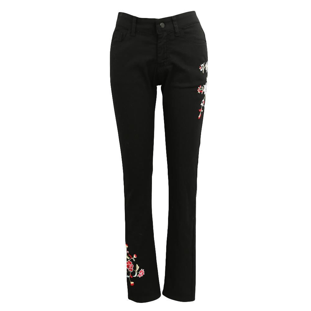 Vintage Women Flower Embroidered Mom Jeans Winter Stretch High Waist Jeans  Button Zipper Pockets Skinny Pencil Denim Pants Black Online with   48.12 Piece on ... 8a4f6e01c7c6