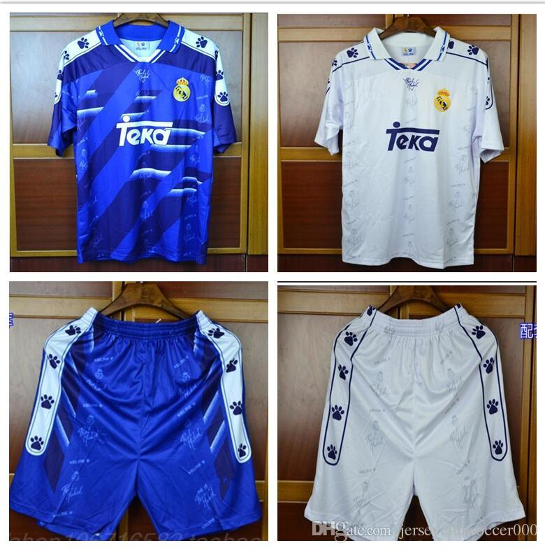 new concept d77fb 9af2d THAI 94 95 96 Retro Soccer Jersey Real Madrid 7 Raul 9 Zamorano 6 Redondo  Football Shirts 1994 1995 1996