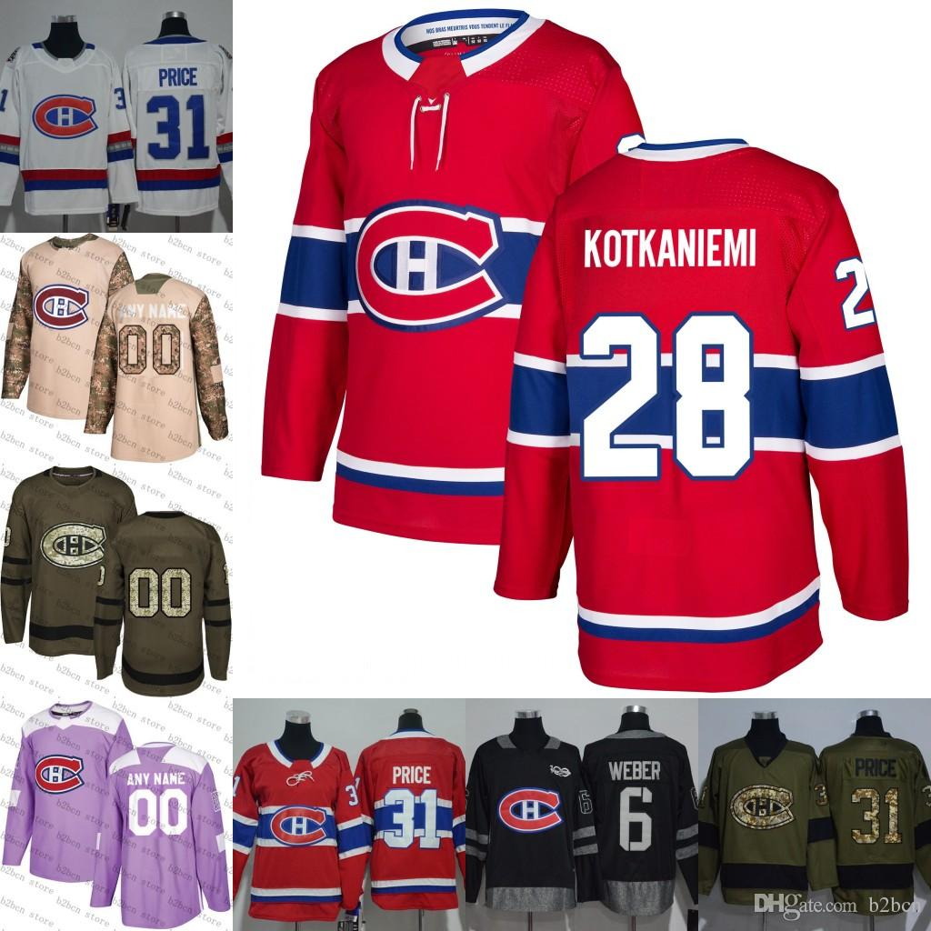 best sneakers 73d95 ae285 2018 mens Montreal Canadiens 28 Jesperi Kotkaniemi White red purple 100th  black flat usa Home hockey Jersey Stitched S-3XL