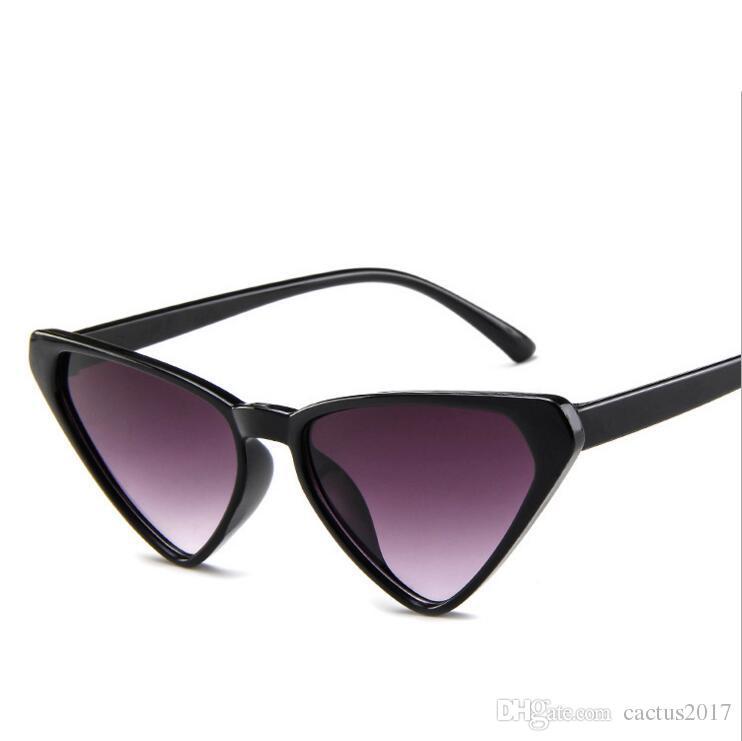 e8eae4b9e777 2018 Fashion Triangle Cat Eye Sunglasses Women Sexy Oversized Sun Glasses  Vintage Brand Designer Ladies Eyewear Shades Prescription Sunglasses Online  Black ...