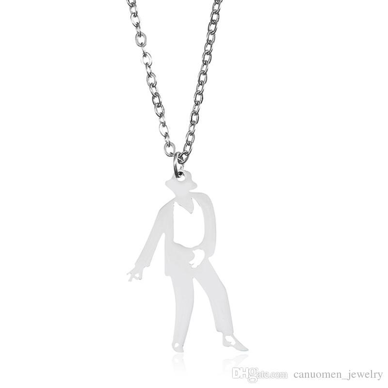 Michael Jackson colgante, collar de pie postura de la danza de acero inoxidable de oro para hombres novio regalo de la joyería del encanto al por mayor