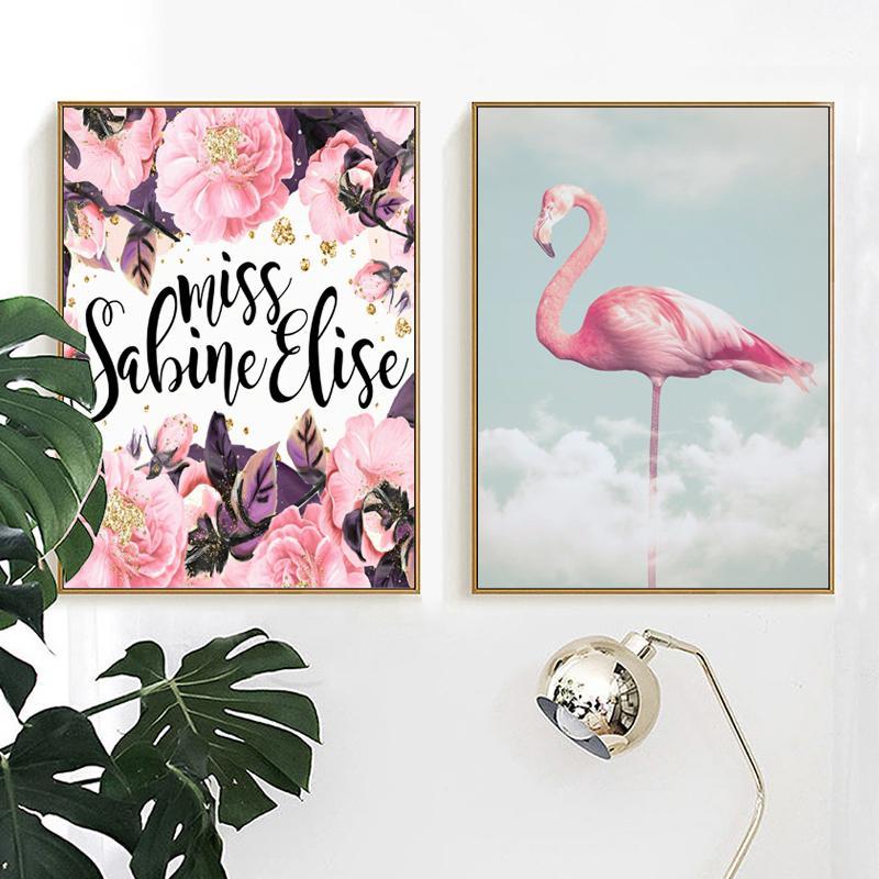 Satın Al Modern Ev Dekorasyon Flamingo Bulutlar Tuval Boyama