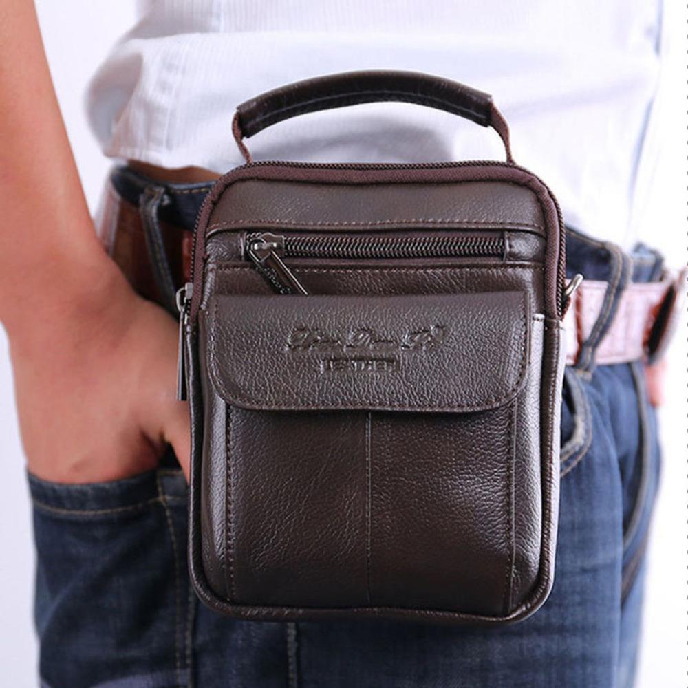 Pelle bovina degli uomini del messaggero del messaggero della spalla della spalla sacchetto del corpo del sacchetto della vita della cinghia di Fanny Hip Bum maschio Tote borse borsa della borsa