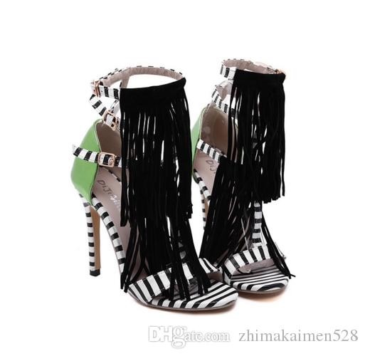 Summer new Tassel Style Sandals For Women Gladiator High Heel fringe sandals Sexy Stripped ladies Shoes Brand Designers