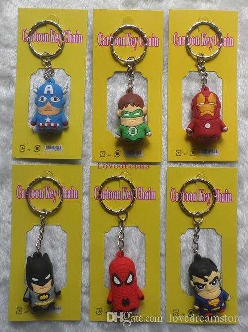 The Avengers Captain American anime superhero spiderman batman Iron Man, Thor, Green Lant Phone keychain 3-4cm figures key chain