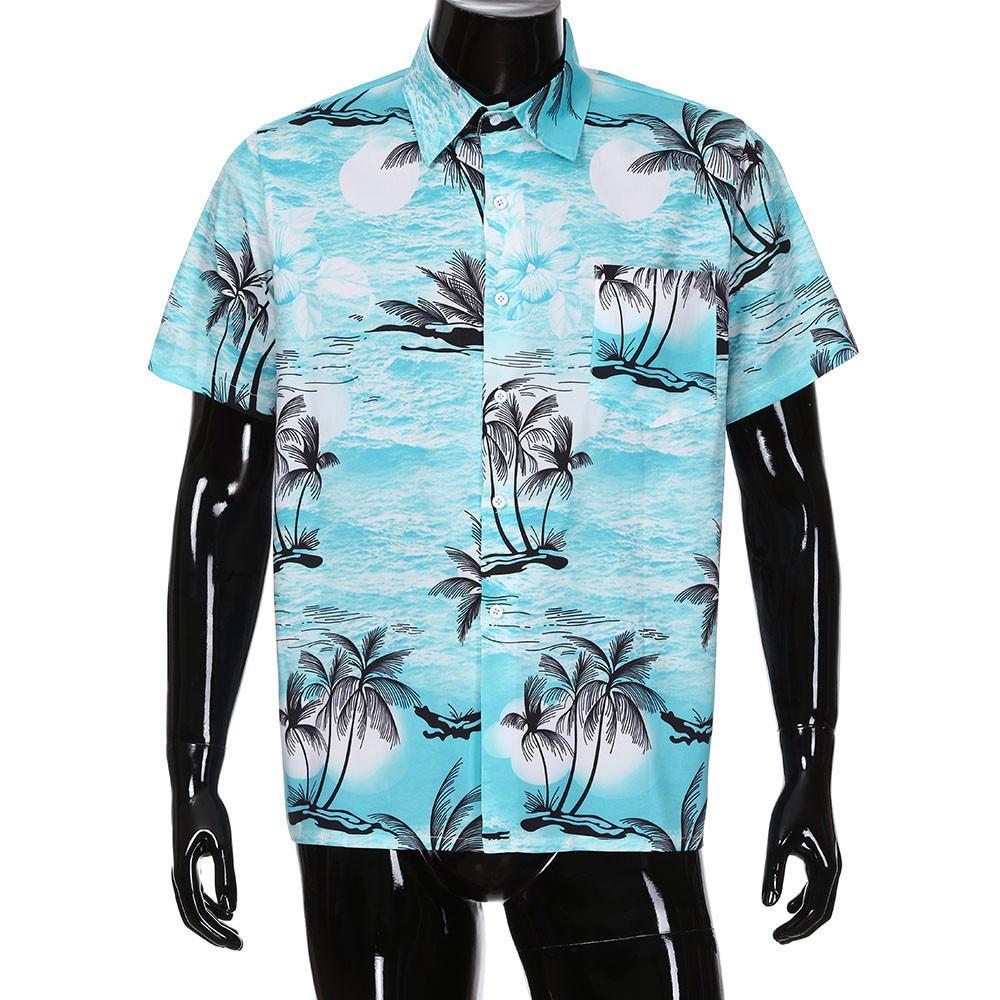 384be82f2b Compre Camisa Hawaiana De Manga Corta Con Bolsillo En La Playa Camisa  Hawaiana Estampada Con Estampado De Flores En Los Hombres Estilo Europeo  Slim Fit Ropa ...