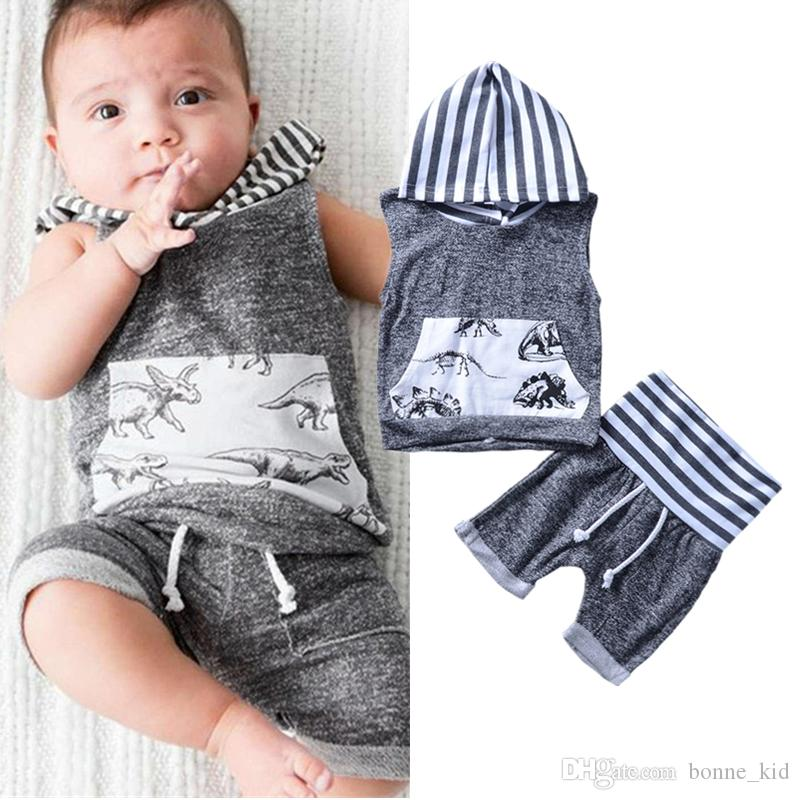 32b00fa54 2019 Baby Boys Clothing Dinosaur Vest +Shorts Set Animals Gray White ...
