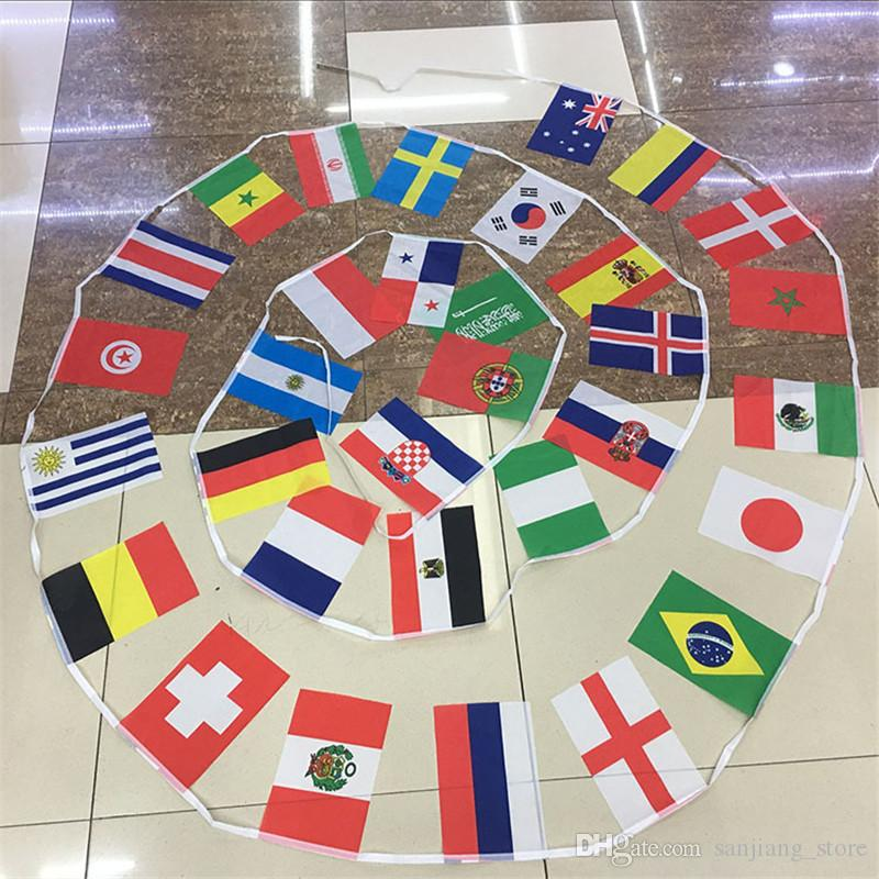 2018 Russia World Cup String flag 8 # 14 * 21cm 32 TOP Paesi Bandiere a mano Hanging World National Counties Flag festival party decor Hot