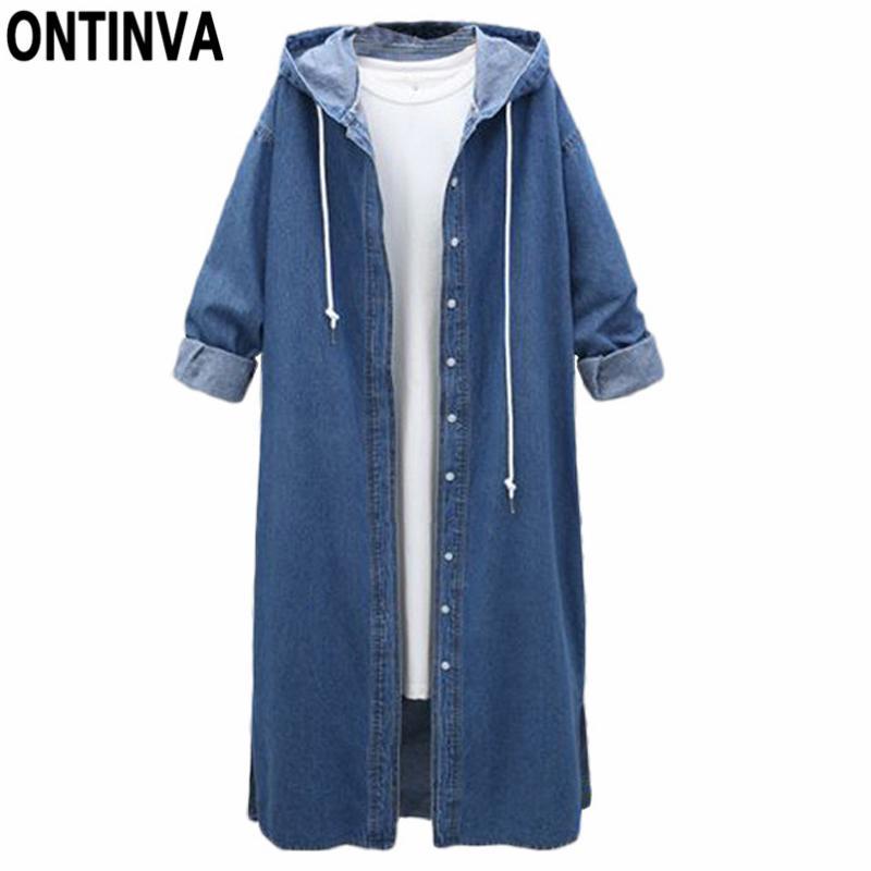 105c3afe71 Acheter Femme Long Trench Coat En Denim Avec Capuche Couleur Bleu Avec  Pocket Women's Windbreaker Dust Manteau Long Outwear 2018 Mode Automne De  $61.91 Du ...
