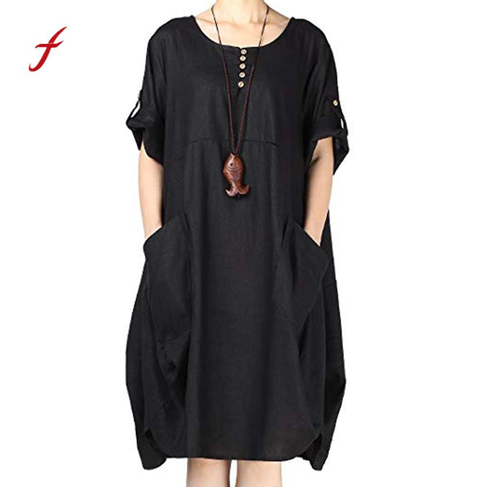 b60f79e196b9 Feitong Plus Size Women Dress Summer Short Sleeve Cotton Linen Maxi Dresses  Large Size Women Button Solid Color Loose Dress  PY Cocktail Dress Shopping  Cute ...