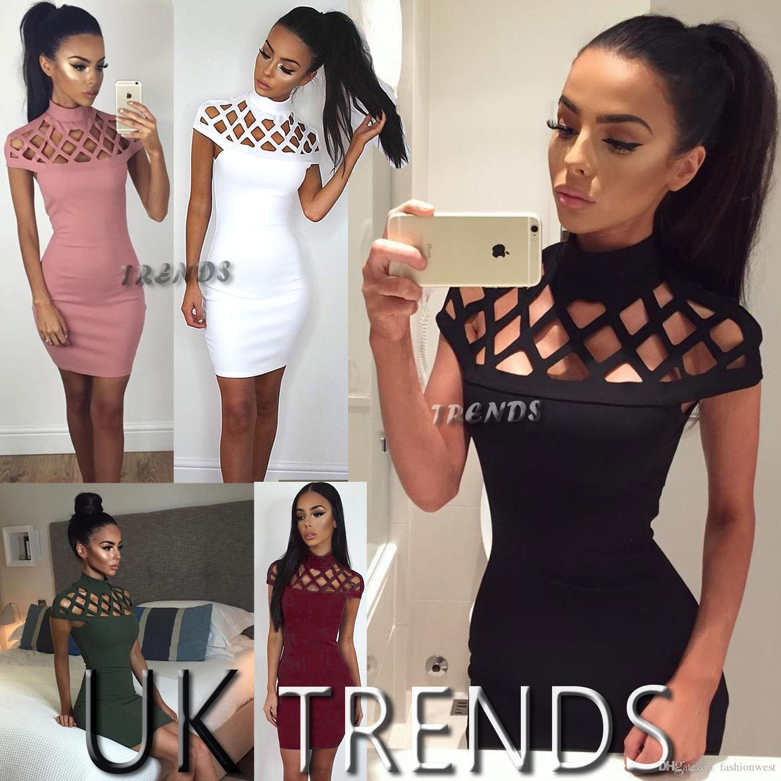 a230f45e7a55a6 2019 UK Womens Choker High Neck Bodycon Ladies Caged Sleeves Mini Dress  Size 6 14 From Fashionwest