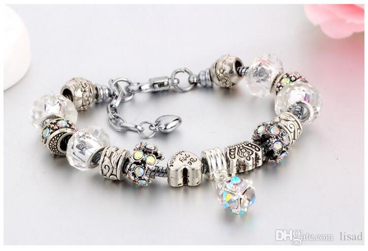 New Arrival Top Quality Crystal Murano Glass Beads 20+3cm 925 Sterling Silver Plated Snake Chain,Varieties Big Loose Beads Bracelet