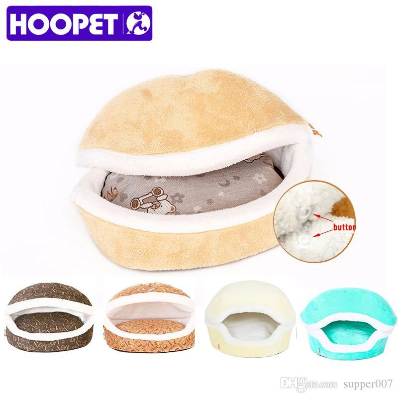 2019 Hoopet Warm Cat Bed House Hamburger Bed Disassemblability