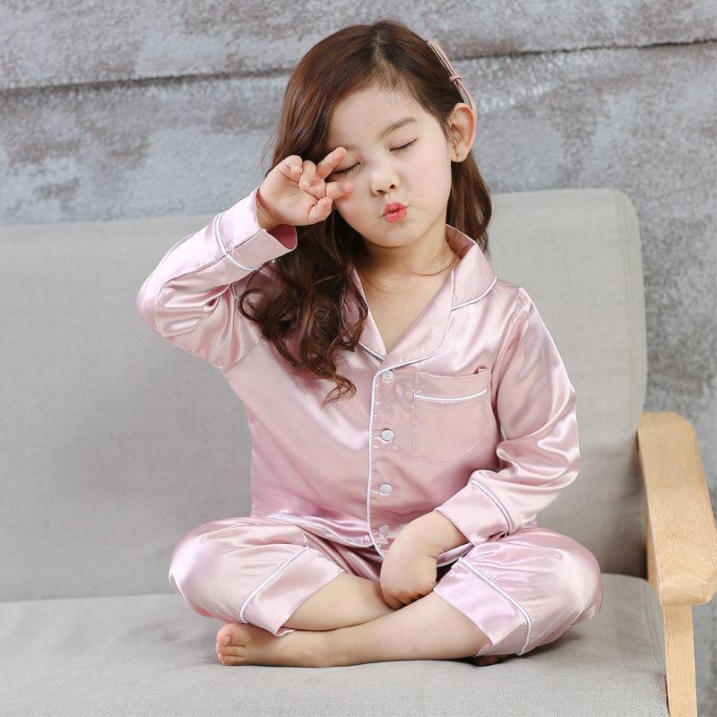 6874cbc5e9eb Cool Kids Pajamas Set Smooth Silk Solid Sleepwear Tops Pants For 2 ...