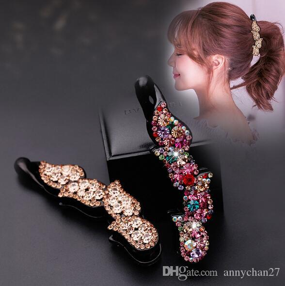New Fashion banana Clips Luxury Rhinestone Clamps Czech Diamond big Hair Claw Wholesales DIY Jewelry Mother Day Valentine Gift