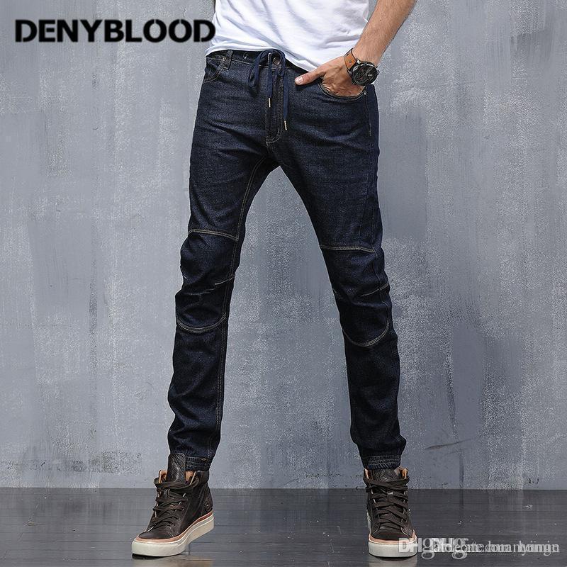 b49f0acfc9852 Denyblood Jeans Mens Stretch Denim Slim Jeans Mutil Cutting Harem Pants  Elastane Bottom Blue Black Denim Cargo Pants 946 UK 2019 From Huanyingn