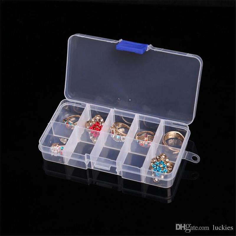 10 Slots Nail Art Storage Box Plastic Transparent Display Case Organizer Holder For Rhinestone Beads Ring Earrings