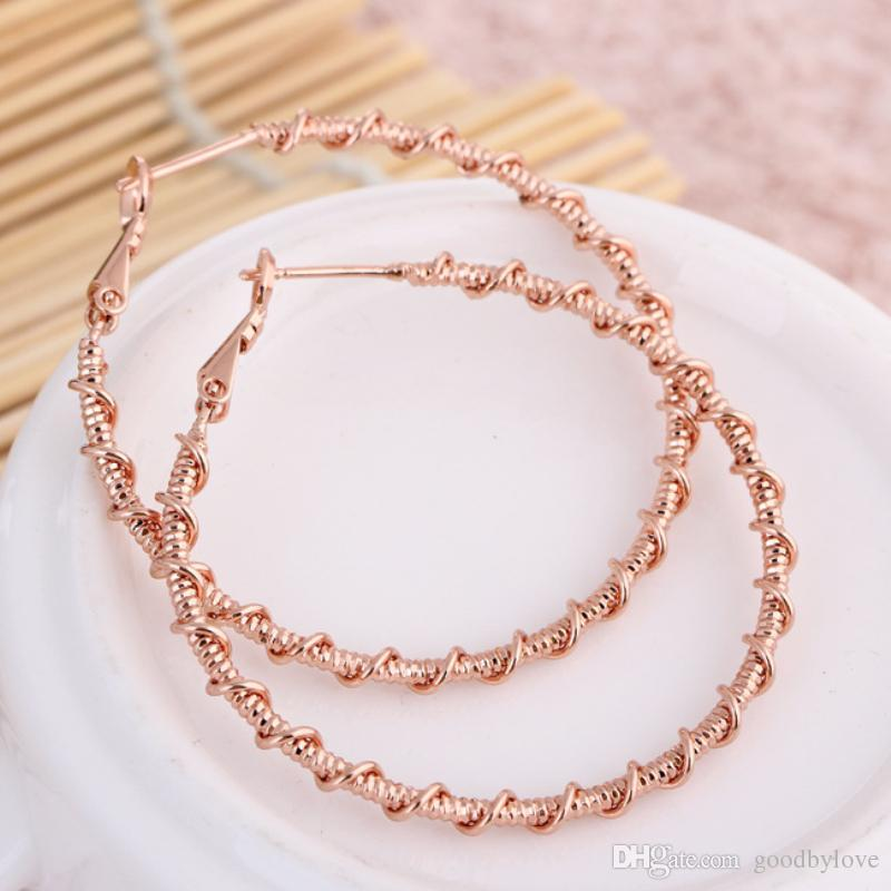 New 18K White/Rose Gold Color Big Twisted Round Circle Loop Hoop Earrings Fashion Party Wedding Jewelry Bijoux Aros for Women