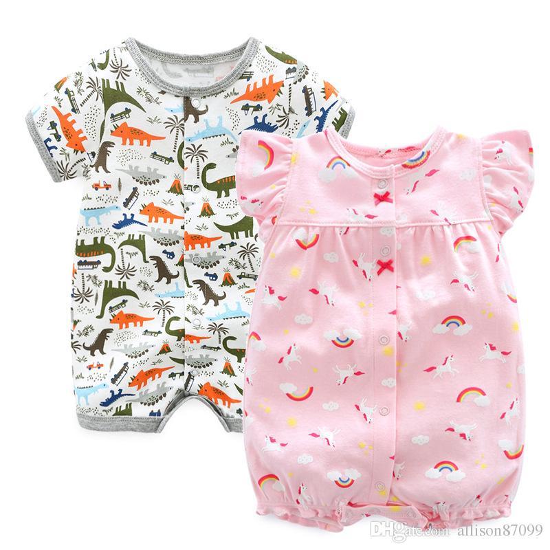 19004f120ca5 Boutique Ins Newborn Jumpsuit One-pieces Baby Girl Unicorn Flamingo ...