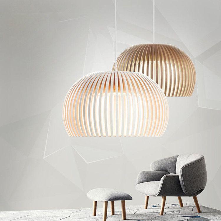 Modern Wooden Pendant Lights Minimalist Cage Home