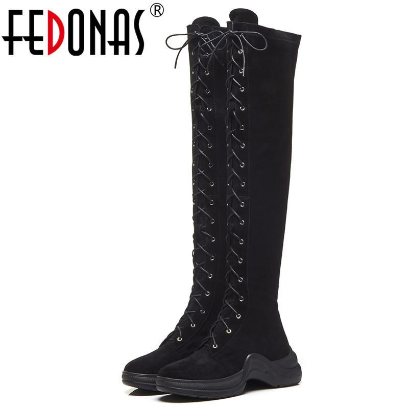 scarpe sportive moda di vendita caldo attraente e resistente FEDONAS Punk Rock Stivali da donna sopra il ginocchio Stivali da sera per  feste Scarpe da donna Stivali aderenti da moto