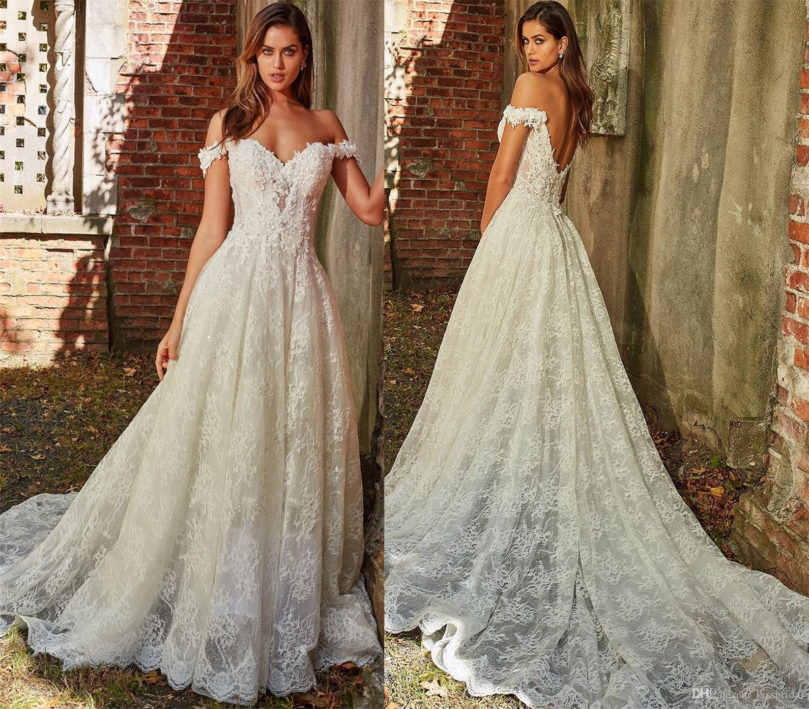 e4adc046711c Princess Off The Shoulder Lace Wedding Dresses 2019 Backless Bridal Formal Gowns  With Three Dimensional Flowers New Luxury Wedding Dress Black Wedding Dress  ...