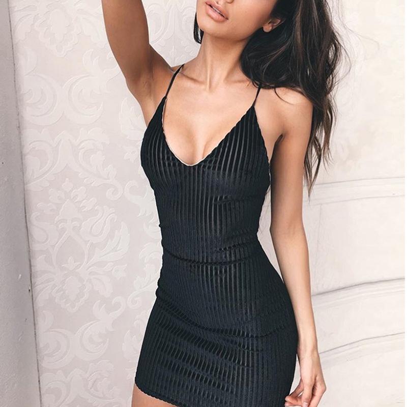 Summer Women S Dress Sexy V Neck Sleeveless Spaghetti Strap 2018 Slim  Sheath Bodycon Party Club Mini Dress Mujer Vestidos Black White Lace Casual  Dress ... 9df44567077a