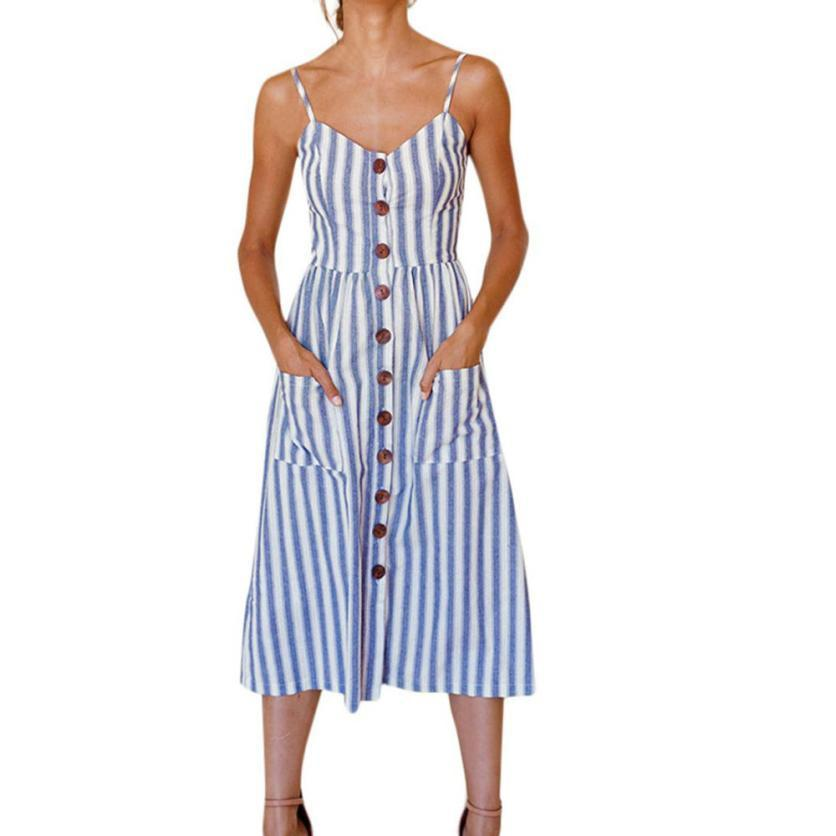 4fdba75e77030 2019 New Fashion Womens Holiday Striped Ladies Summer Beach Buttons Party  Dress Elegant Polyester V Neck Printed Ladies Dresses Casual Purple Dresses  For ...