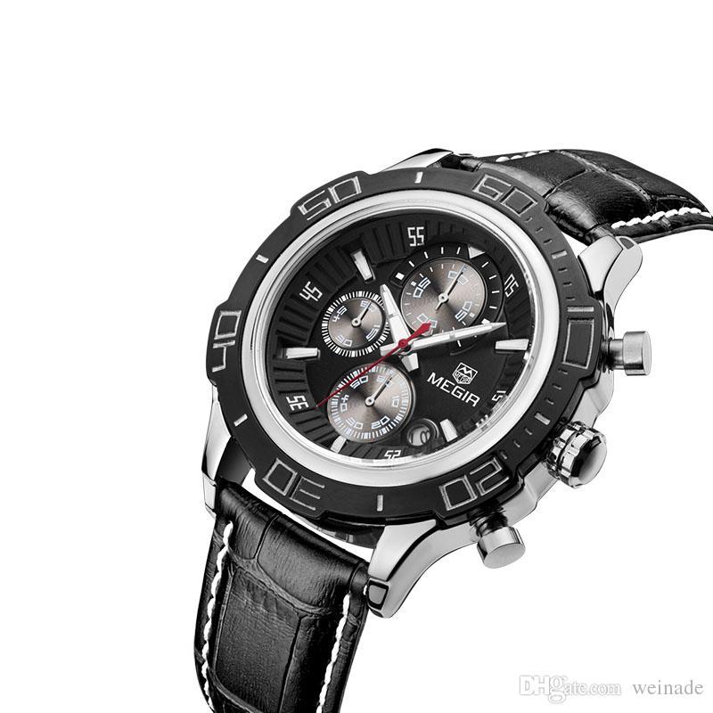 283f2ba603f Wholesale MEGIR Original Quartz Watch Business Stainless Steel Men Watches  Multifunction Chronograph Calendar Wristwatch Relogio Masculino MEGIR Watch  ...