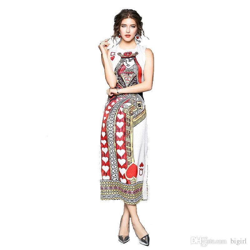 New 2018 Women Spring   Summer New Poker Queen Print Long Neck Waist Dress  Vintage Split Slim Thin Sleeveless Party Female Dress Spring Dress Women  Poker ... b5f29078727a