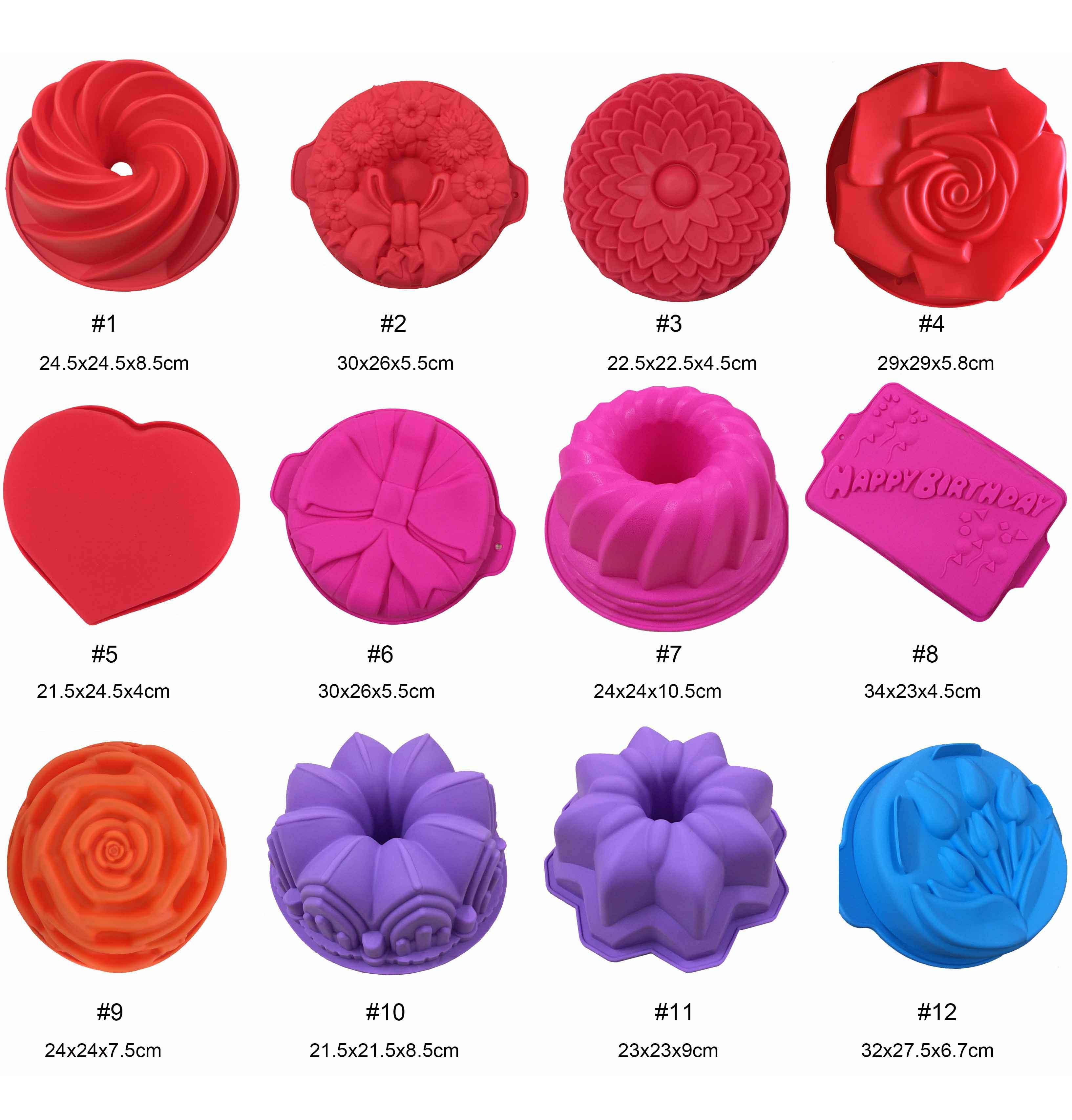 2019 Silicone Cake Mould Happy Birthday Mold 8 12inch Big Crown Heart Flower Non Stick Baking Tools Many Styles Random Color DHL From Shunhuico