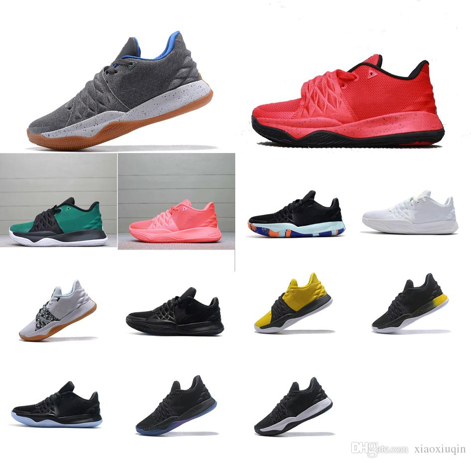 huge discount 539eb f4737 Mens Kyrie low cut basketball shoes for sale Team Red Black Green Wolf Grey  Yellow Flytrap elite kyries irving 4 IV sneakers boots with box