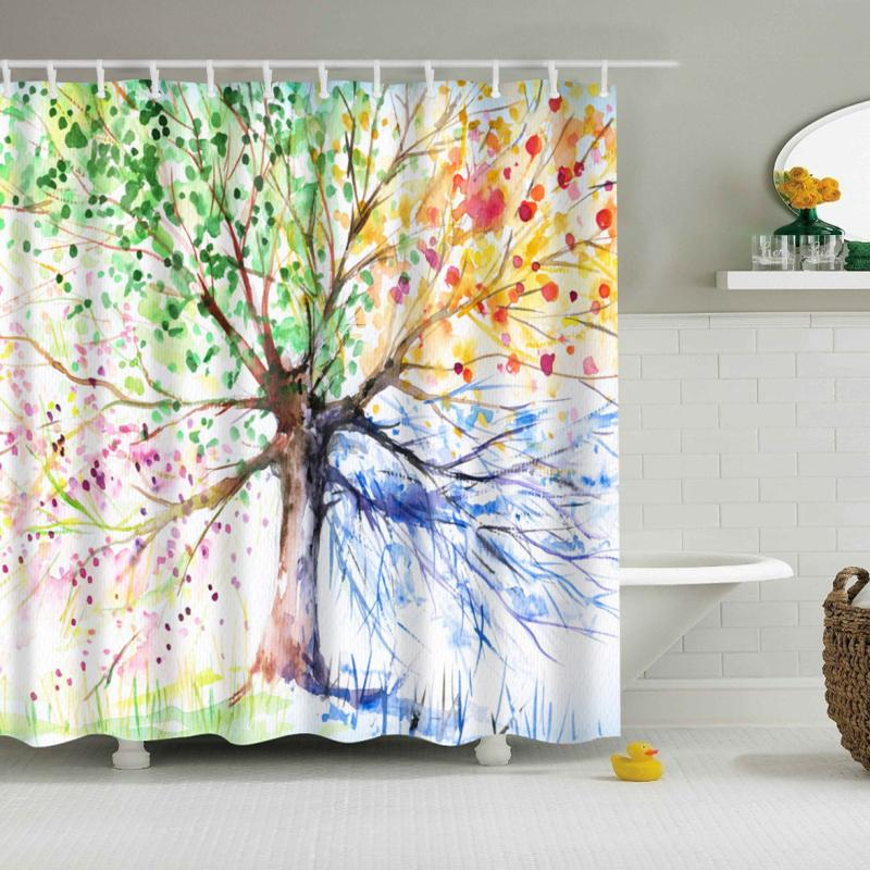 2018 Svetanya 71x71 Paiting Tree Print Shower Curtains Bath Products  Bathroom Decor With Hooks Waterproof From Baibuju8, $23.64 | Dhgate.Com