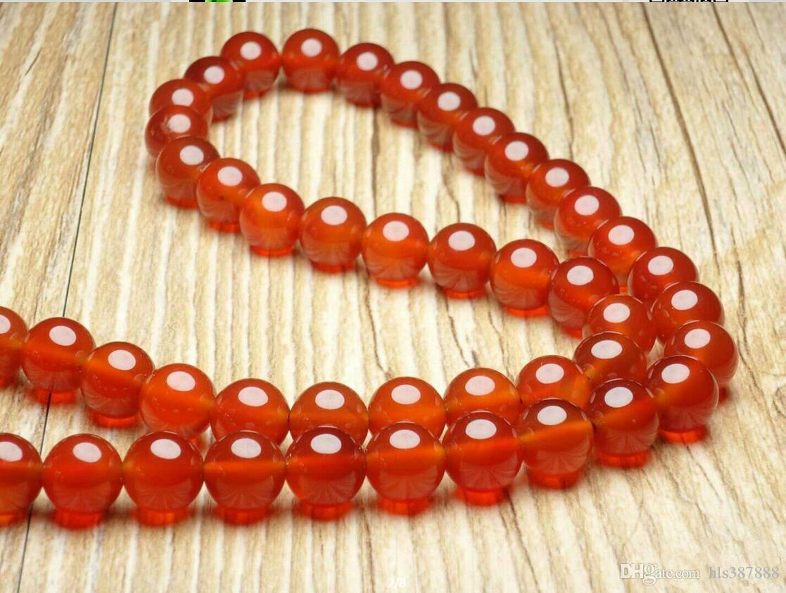 Collana di perle di agata rossa naturale con spedizione gratuita B1