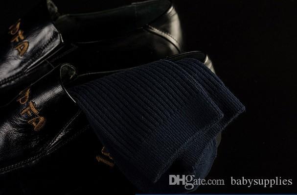 Agulha dupla masculina meias de algodão espessas outono e inverno no tubo business casual meias dentro e fora do algodão high-end meias
