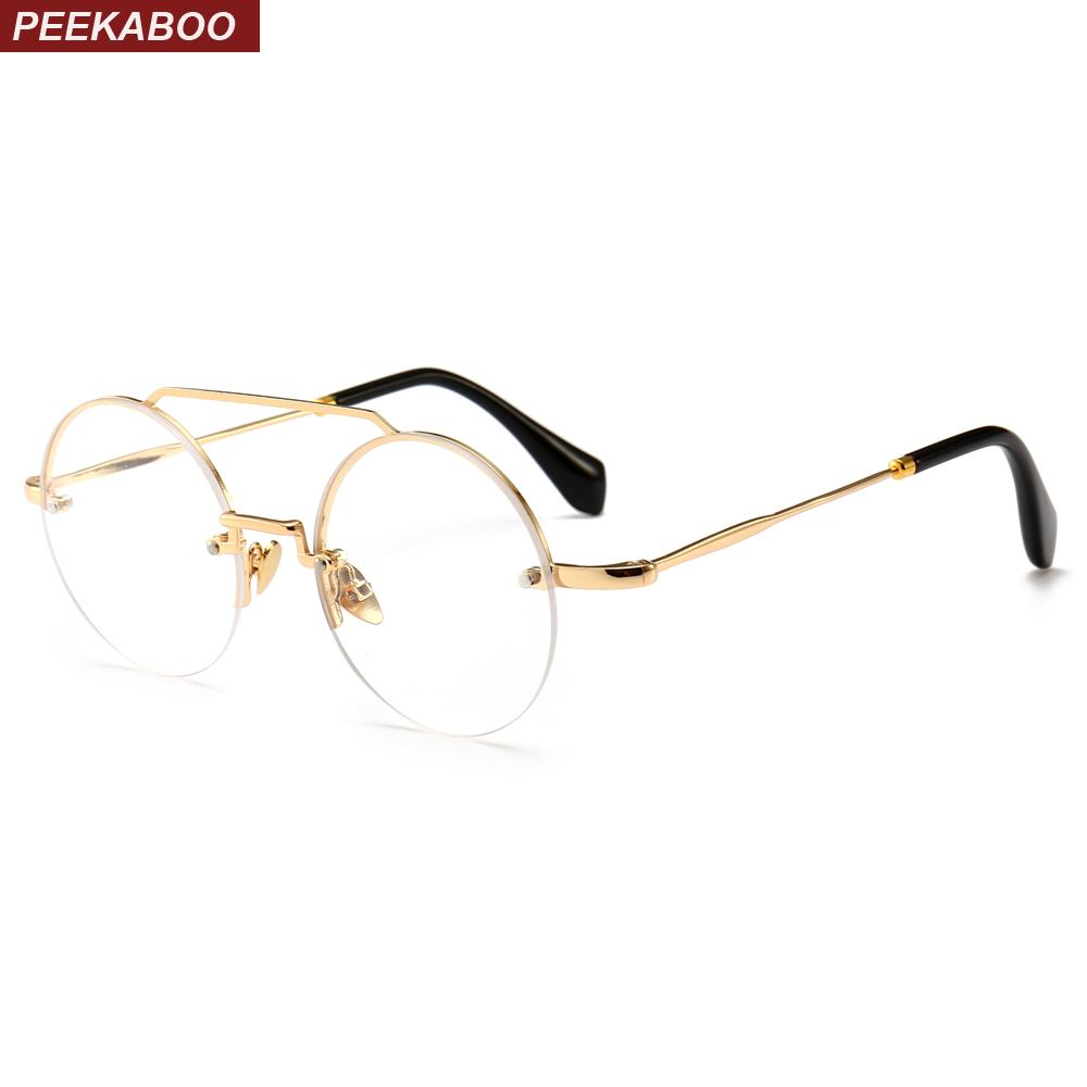 5c3b58677e4 2019 Peekaboo Vintage Round Eyeglasses Frame Men Retro Accessories Gold  Metal Half Frame Clear Lens Glasses Women Round From Bojiban