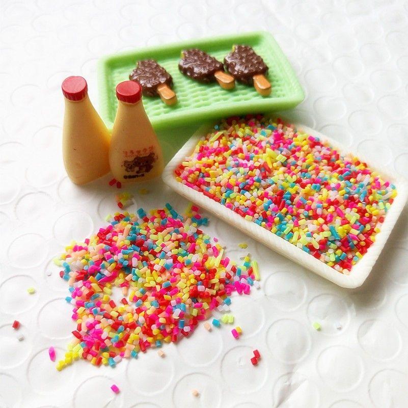 lay decoration Tanduzi 30g 1-3mm Fake Colorful Chocolate Sprinkles Sugar  Candy Needle Simulation Ice Cream Cake Cookies Decorative Polyme