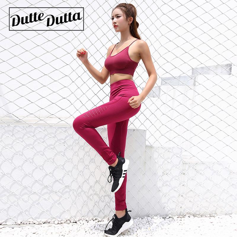 Acheter Duttedutta Fitness Femmes Yoga Ensemble Haut Stretchy Seamless Sport  Costume Rembourré Soutien Gorge Sport Taille Haute Leggings Gym Sportswear  De ... 923cacf3ccb