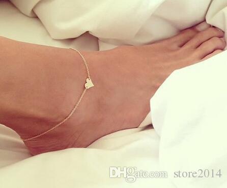 New Sexy a forma di cuore Ciondoli Cavigliera Bracciale Piedi Gioielli Sandali a piedi nudi Accessori da spiaggia Cavigliere moda europea e americana