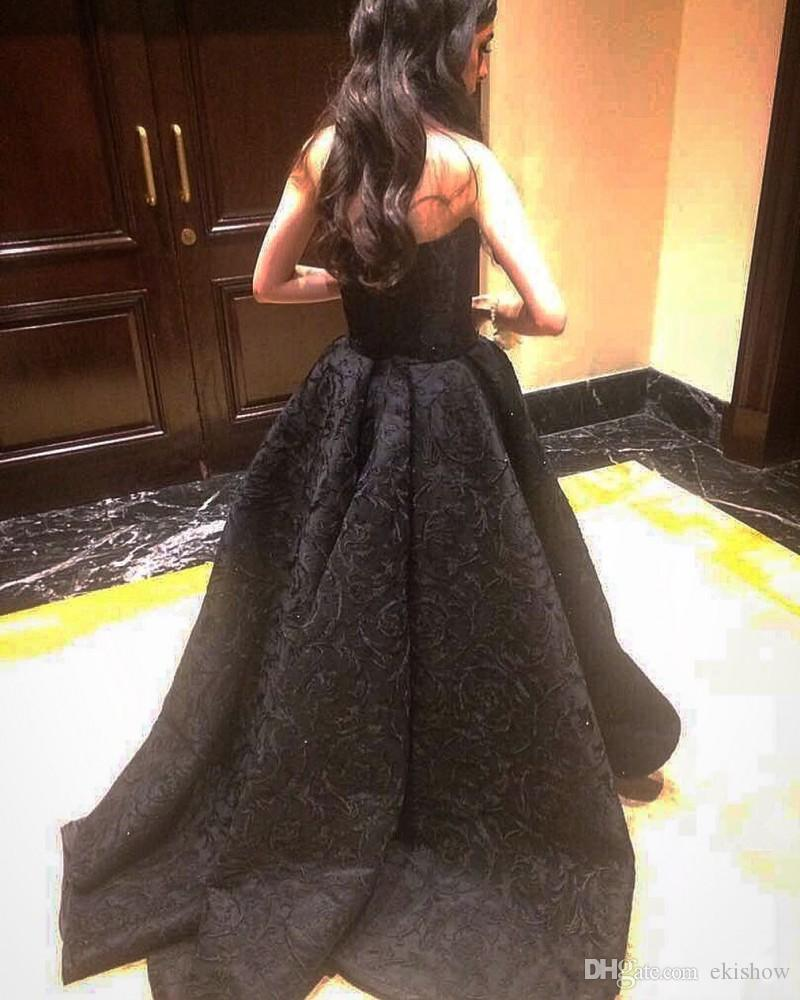 2018 New Elegant Black Full Lace High Low Sexy Strapless Prom Dresses Sleeveless Sweep Train Formal Evening Dresses Women Party Gowns