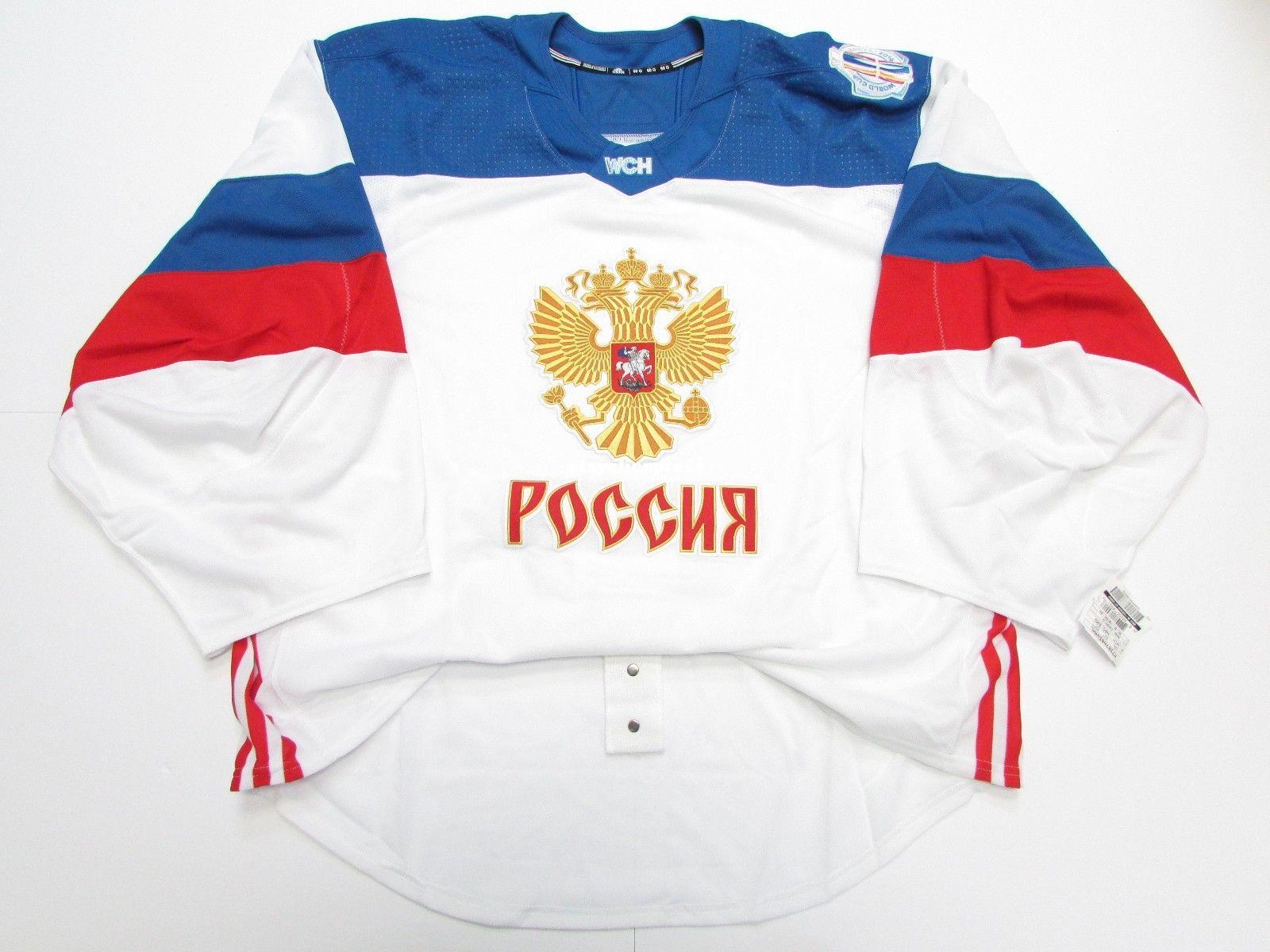 2018 wholesale customization russia white 2016 world cup of hockey team issued jersey goalie cut mens stitched personalized hockey jerseys from