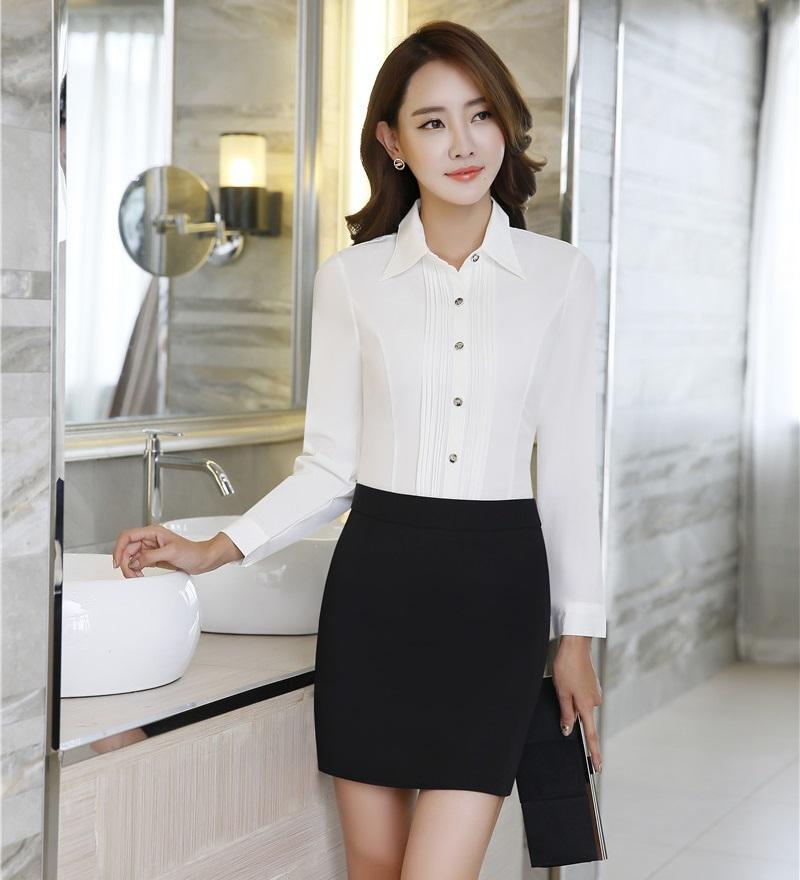 836eaed80 Trajes de negocios de mujeres formales de otoño de la caída de la primavera  con conjuntos de falda y blusa Camisas de color blanco Tops Estilos de ...