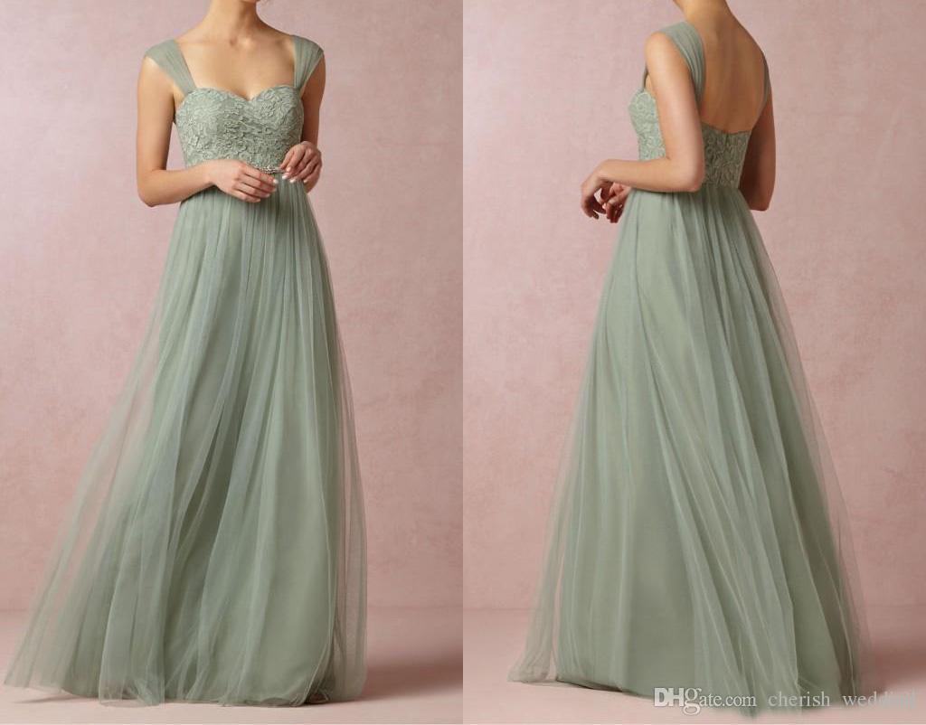 Country simple bridesmaids dresses a line tulle lace applique