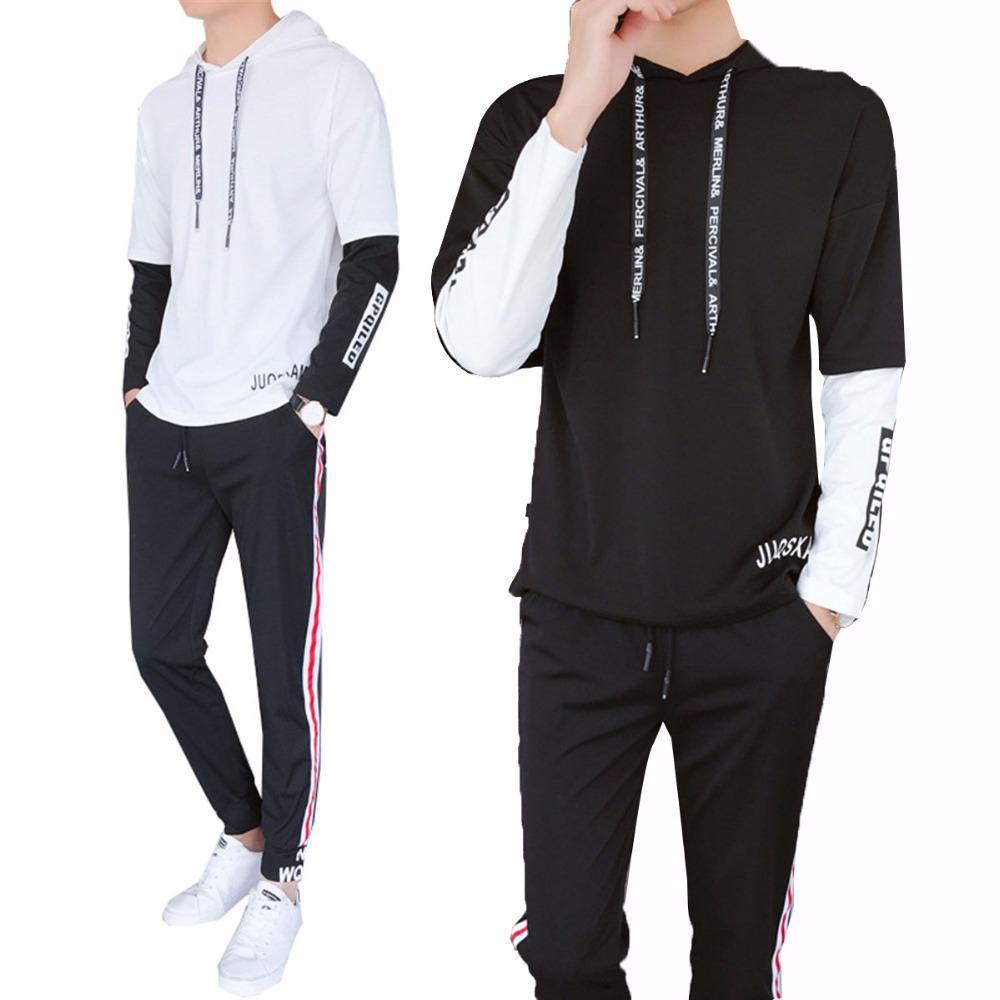 64558dd2801b9 Compre Daddy Chen De Hombre Spring Autumn Streetwear Set De 2 Piezas Traje Deportivo  Sudaderas Con Capucha + Pantalón Sweatshirt Hombre Ropa Conjuntos De ...