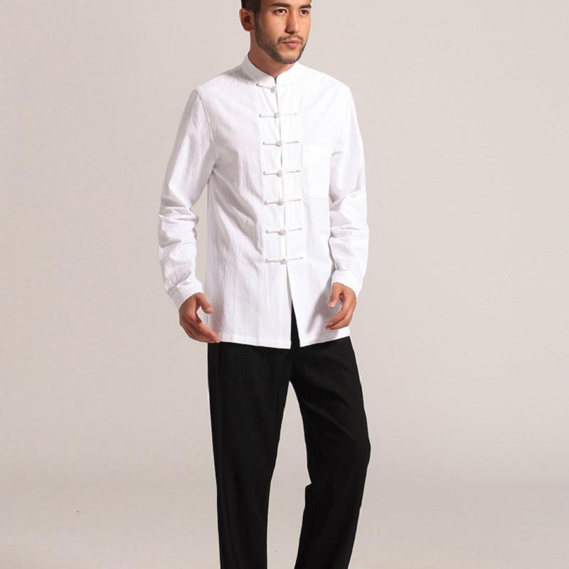 Acquista Abbigliamento Tradizionale Cinese Kung Fu Vestiti Cheongsam  Camicia Manica Lunga Gli Uomini Cinese Vestito Di Linguetta Uomo Uomo  Superiore ... 9c799570d9d