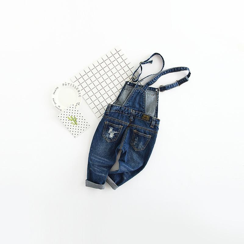 Girl overall spring fall infant baby long pants boys denim overalls children clothing ripped hole jumpsuit jeans for kids cloth
